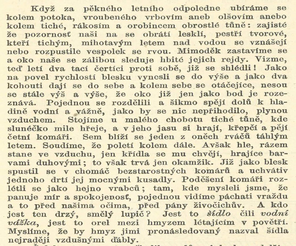 Šídla a vážky země České Augistin Krejčí Vesmír 1890 - předmluva